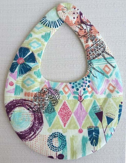 Va handmade yarn quadruple sided bibs series (cyan animal Kaleidoscope)