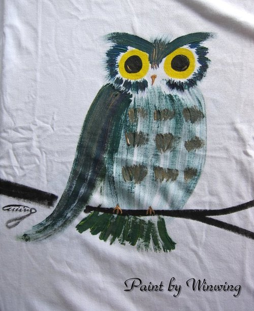 Great Owl (dark green) -Winwing hand-painted clothing