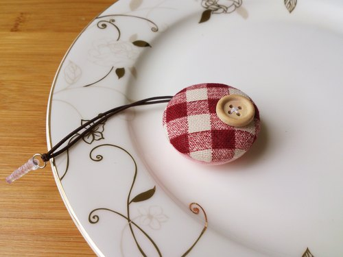 Chomii. Macaron series screen wipe strap headphone plug red plaid small round buckle
