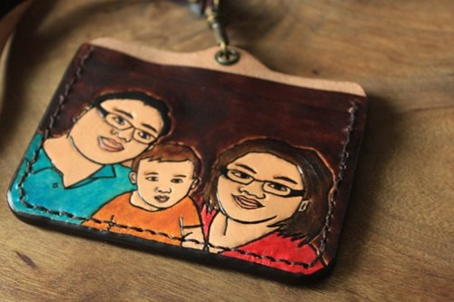 Custom family portrait portrait umber pure leather badge (made exclusive Valentine, birthday gifts)