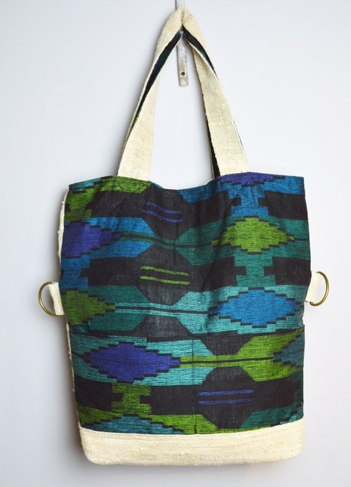 Long hand-woven bags _ _ blue-green ocean Fair Trade