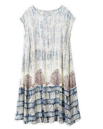 "Earth tree fair trade & eco- ""clothing line"" - hand-woven silk dress woodcut"