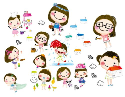 Together Veg --Bibiana Miss Series - 3 years old and funny stories (transparent waterproof sticker)