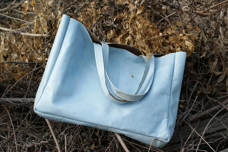 Tote Bag sky blue leather drag special package