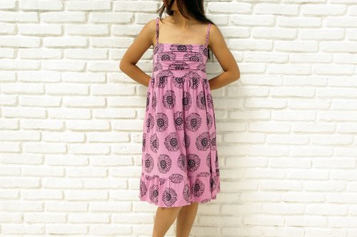 San flower print camisole ruffle dress <Pink>