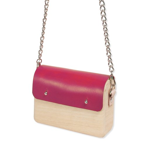 Wooden Shoulder Bag (Small) (Rose Red)