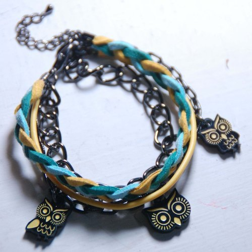 Big eyes owl / yellow, blue, green braided rope bracelet with multi-level