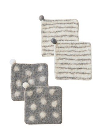 "Earth tree fair trade & Eco- ""sheep blankets Series"" - handmade wool felt coasters four groups (white)"