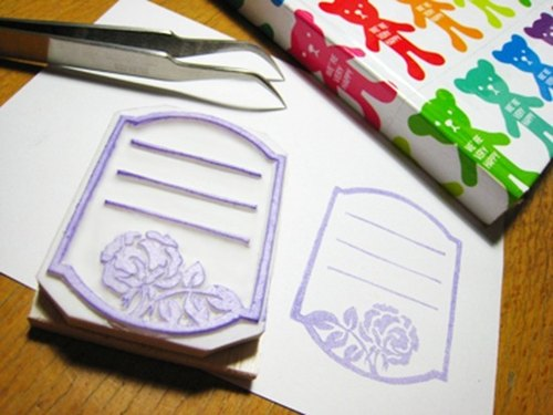 Apu Hand stamp pad rubber stamp utility Rose