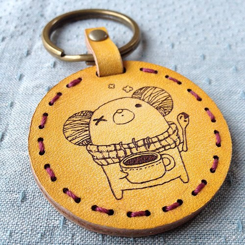 Five wings Sew / leather key ring. Eyed rat drink warm