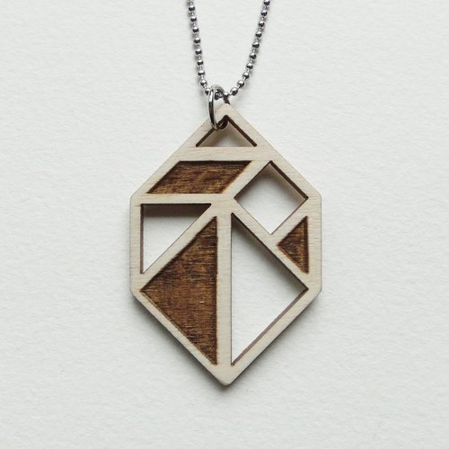 :: :: New Year gift hibernation acorns / geometric wooden necklace