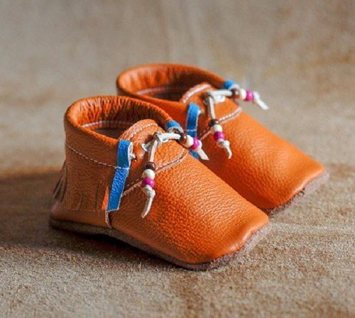 [European system] moccasin Adventure -First baby shoes handmade leather soft bottom toddler shoes / indoor shoes - camel Beads