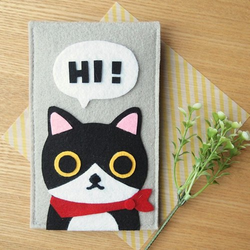 Meow hand-made red scarf black and white cat Just to say Hi -! Phone bag / Storage bag / pouch / Pencil