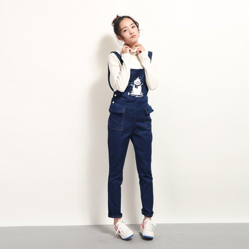 Not crossing BUDU printing denim overalls fun snowman