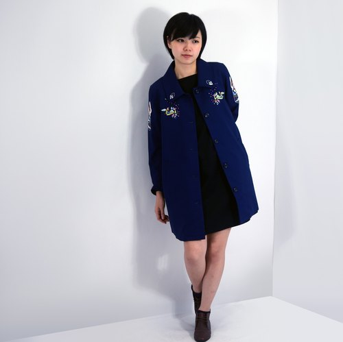 humming- Embroidered overcoat / Navy blue
