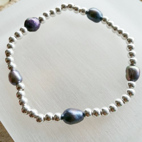 Sterling silver beads natural flat dark pearl bracelet (pearl paragraph 5)