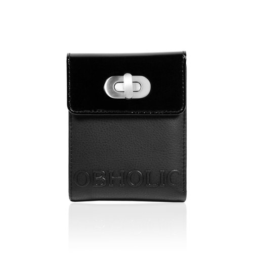 Black glossy leather with leather short clip wallet OBHOLIC