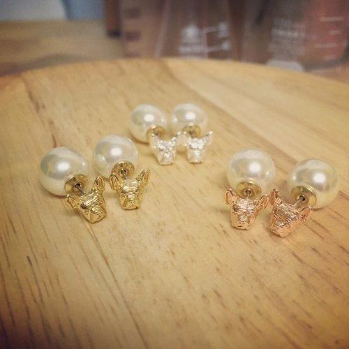 Oops Fighting Head (Small) x10mm Pearls Bunch Earrings