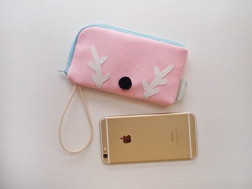hairmo. Elk big nose L-type zipper bag phone / mobile power supply - Powder (iphone / htc / samsung / millet)