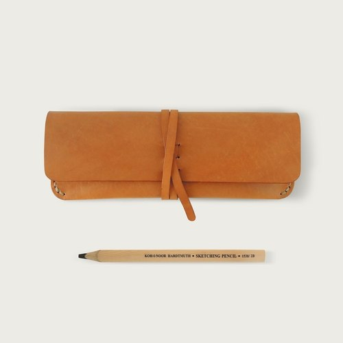 "LINTZAN ""hand-sewn"" bandage Pencil / glasses case - camel yellow"