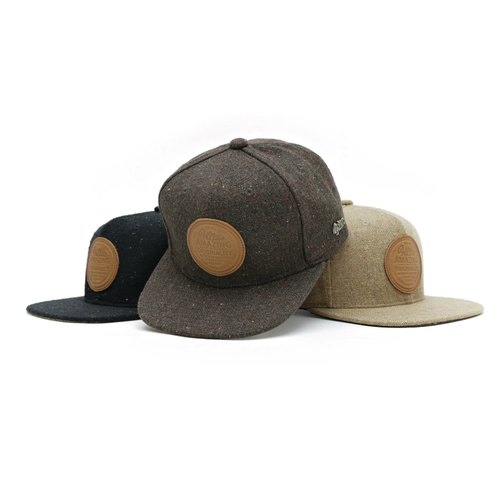 Filter017 wool blended brand leather baseball cap - LOGO BLENDED LEATHER LABEL SNAPBACK CAP - W57