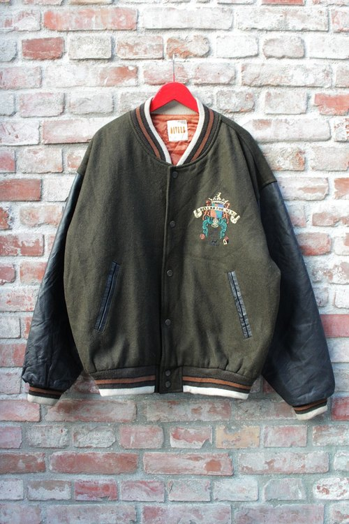 Vintage - Japanese pick leather baseball jacket