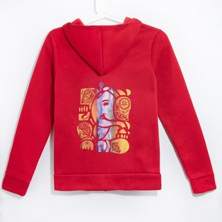 Within the bristles Hooded Jacket feel - Indian elephant / elephant god Ganish (red light)