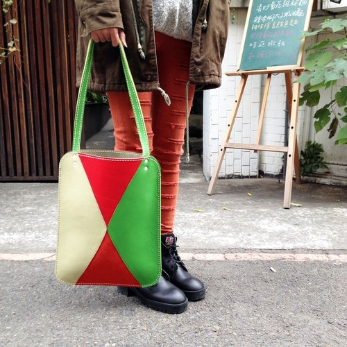 ─ hand-made leather leather shoulder bag (four mixed colors). Mushrooms poet + Handmade = The Mushroom Hand. (Handbag shoulder bag, shoulder backpack bag, package)
