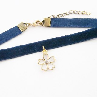 Navy blue velvet choker / necklace with flower charm.