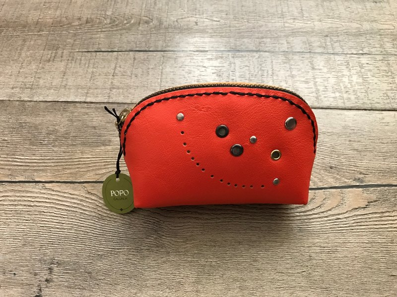 POPO│ colorful cow leather │. │ choke orange purse smile