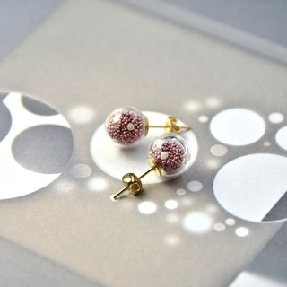 AMATO earrings - Valentines Edition - matallic dark pink polka dots glass bubble earrings