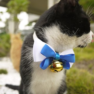 Safe pet collar x blue and white jazz dog / neck / bow tie / tweet ♥ cherry pudding Cherry Pudding ♥