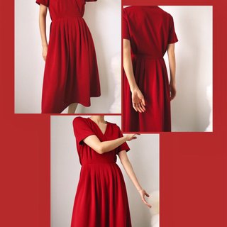 Burgundy wine red V-neck dress (for a simple wedding; can be customized other colors)