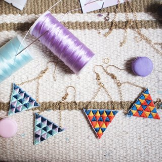 Triangular Embroidery Earrings