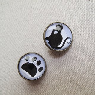 Round ear clip ear acupuncture - meow meow microphone + cat paw print -