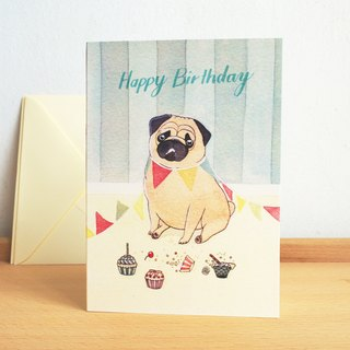 Pug Dog- Birthday Card