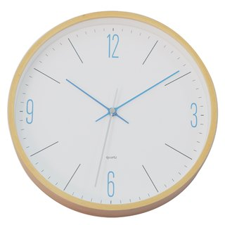Natural - turquoise blue clock (wooden)