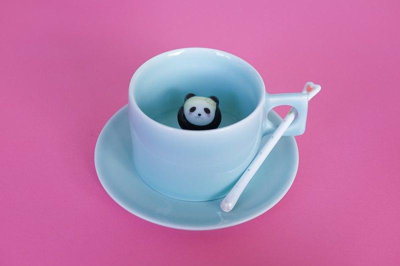 Three Shallow Ceramic Original Spa Panda Creative Coffee Cup