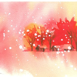 Ying Hong series of forest r2- watercolor hand-painted limited edition postcard / Christmas card