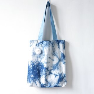 S.A x Ink Painting, Indigo dyed Handmade Abstract Pattern Tote Bag