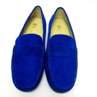 Fort Tony Wang handmade leather shoes (female) [frosted / soled / color blue]