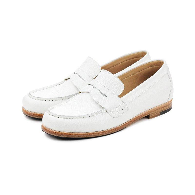 Sweet Villians M1108 手工真皮素面飾帶樂福鞋 白色