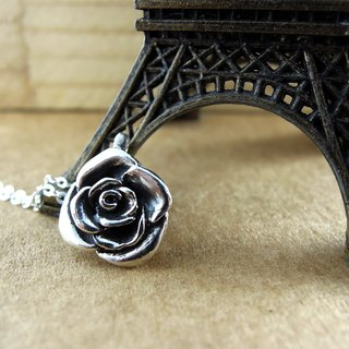 Rose sterling silver necklace clavicle chain (three-dimensional models) / Mother's Day / gift / anniversary / Valentine's Day