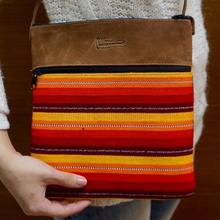 LEATHER & HANDWOVEN COTTON  CROSBOODY BAG FOR IPAD
