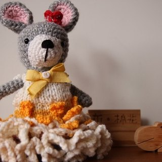 Amigurumi crochet doll: Bride Doll, Gray Rabbit wear Yellow Knitting Wedding Dress