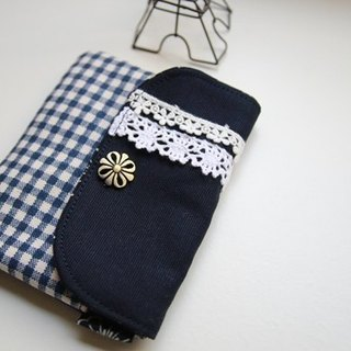 Cotton Fabric: Canvas Coin Purses, Blue Canvas, White lace, Blue lattice