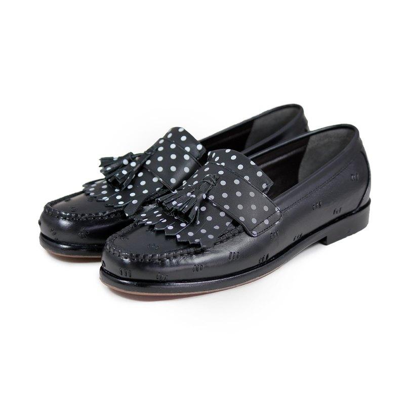 Sweet Villians M1109 手工真皮流蘇縫線圓點樂福鞋 黑色