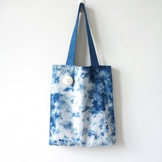 S.A x Sky, Indigo dyed Handmade Natural Pattern Tote Bag