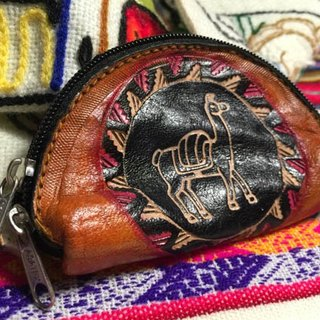Shell dyeing leather handle small purse - leather imprinted Totem (Totem alpaca)