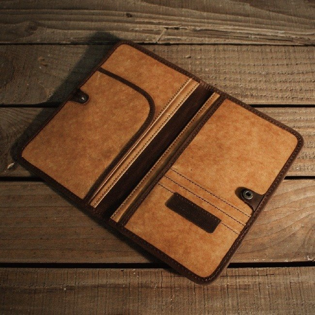 【ADOLE】 wax pattern cloth antique leather - retro sandwich passport cover